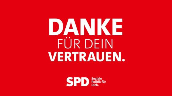 Text: Danke für dein Vertrauen. SPD.